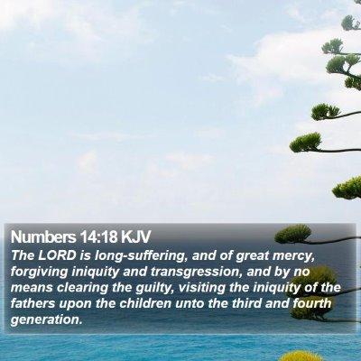 Numbers 14:18 KJV Bible Verse Image