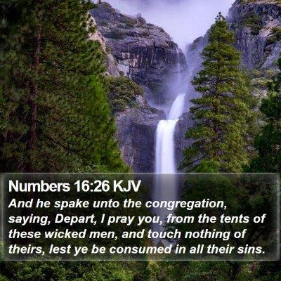 Numbers 16:26 KJV Bible Verse Image
