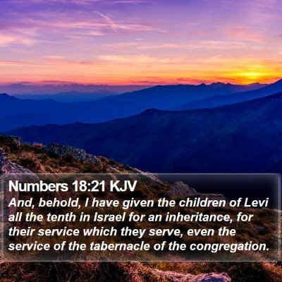 Numbers 18:21 KJV Bible Verse Image