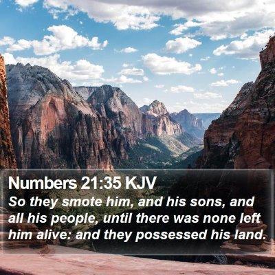 Numbers 21:35 KJV Bible Verse Image
