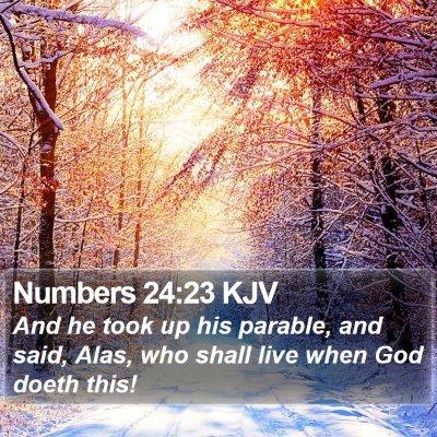 Numbers 24:23 KJV Bible Verse Image