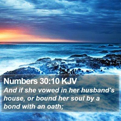 Numbers 30:10 KJV Bible Verse Image