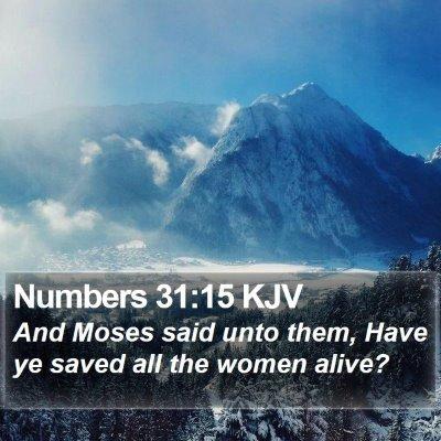Numbers 31:15 KJV Bible Verse Image