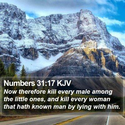 Numbers 31:17 KJV Bible Verse Image