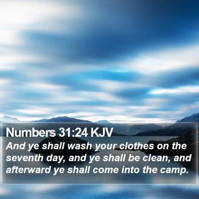 Numbers 31:24 KJV Bible Verse Image