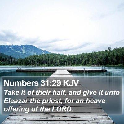 Numbers 31:29 KJV Bible Verse Image