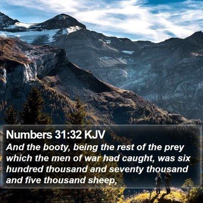 Numbers 31:32 KJV Bible Verse Image