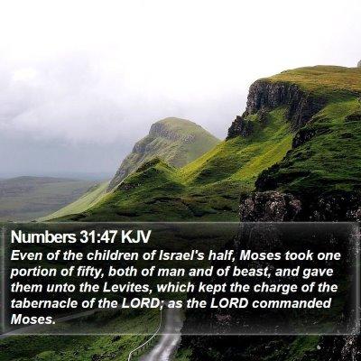 Numbers 31:47 KJV Bible Verse Image