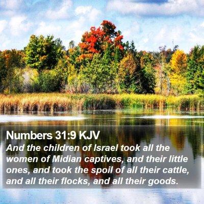 Numbers 31:9 KJV Bible Verse Image