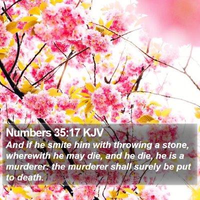 Numbers 35:17 KJV Bible Verse Image