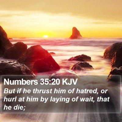 Numbers 35:20 KJV Bible Verse Image