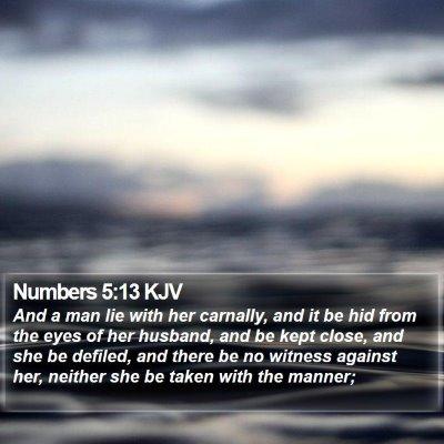 Numbers 5:13 KJV Bible Verse Image