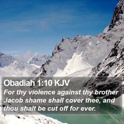 Obadiah 1:10 KJV Bible Verse Image