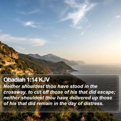Obadiah 1:14 KJV Bible Verse Image