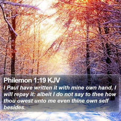 Philemon 1:19 KJV Bible Verse Image