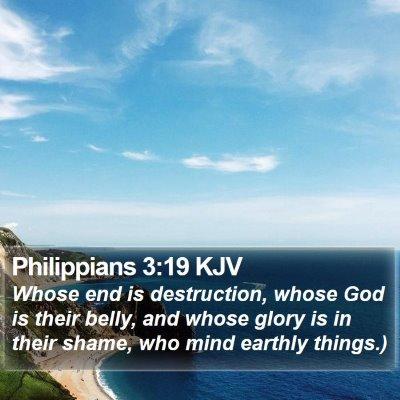 Philippians 3:19 KJV Bible Verse Image