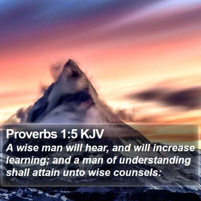 Proverbs 1:5 KJV Bible Verse Image