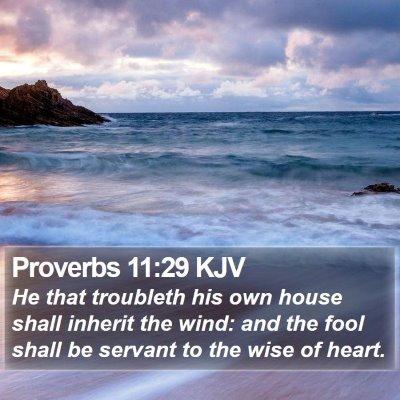 Proverbs 11:29 KJV Bible Verse Image