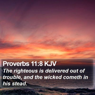Proverbs 11:8 KJV Bible Verse Image
