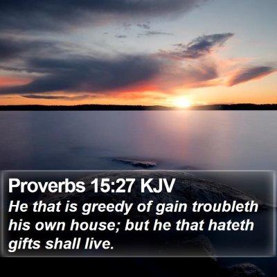 Proverbs 15:27 KJV Bible Verse Image