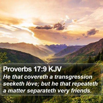 Proverbs 17:9 KJV Bible Verse Image