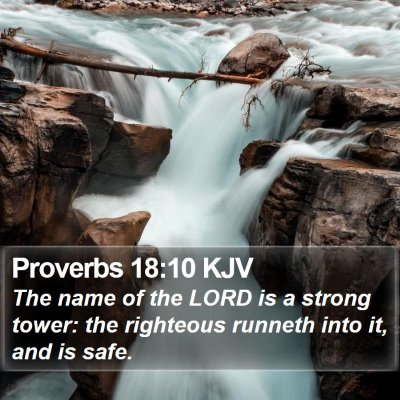 Proverbs 18:10 KJV Bible Verse Image