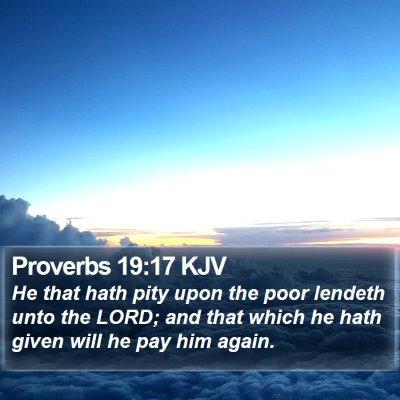 Proverbs 19:17 KJV Bible Verse Image