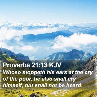Proverbs 21:13 KJV Bible Verse Image