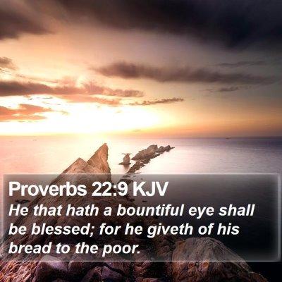 Proverbs 22:9 KJV Bible Verse Image