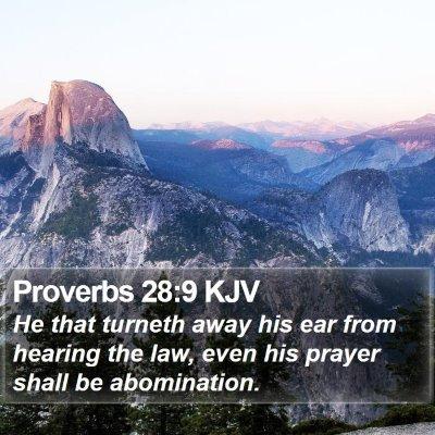 Proverbs 28:9 KJV Bible Verse Image