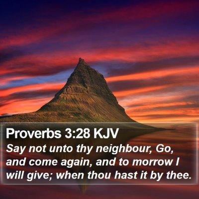 Proverbs 3:28 KJV Bible Verse Image