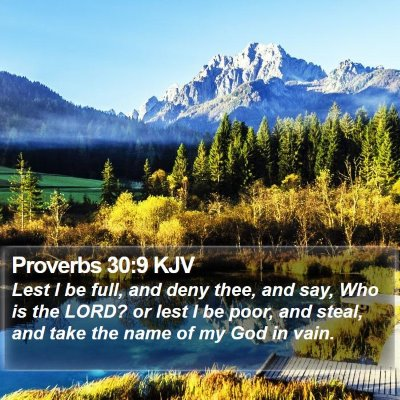 Proverbs 30:9 KJV Bible Verse Image