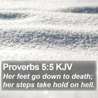 Proverbs 5:5 KJV Bible Verse Image