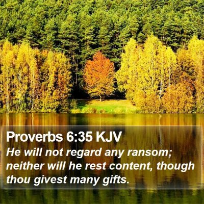 Proverbs 6:35 KJV Bible Verse Image