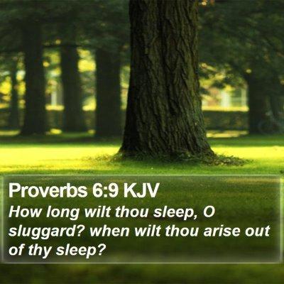 Proverbs 6:9 KJV Bible Verse Image