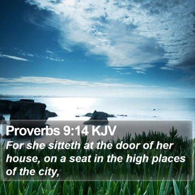 Proverbs 9:14 KJV Bible Verse Image