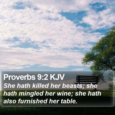 Proverbs 9:2 KJV Bible Verse Image