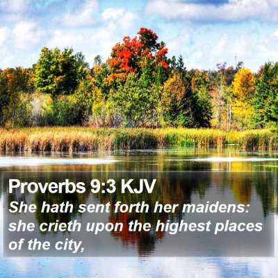 Proverbs 9:3 KJV Bible Verse Image
