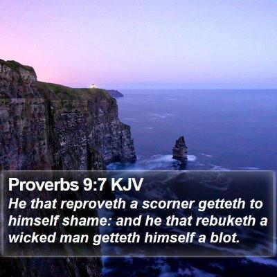 Proverbs 9:7 KJV Bible Verse Image
