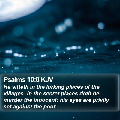 Psalms 10:8 KJV Bible Verse Image