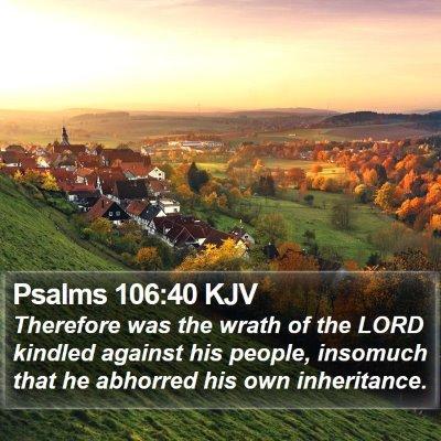 Psalms 106:40 KJV Bible Verse Image