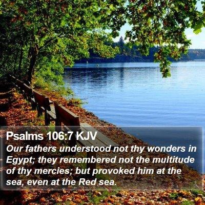 Psalms 106:7 KJV Bible Verse Image