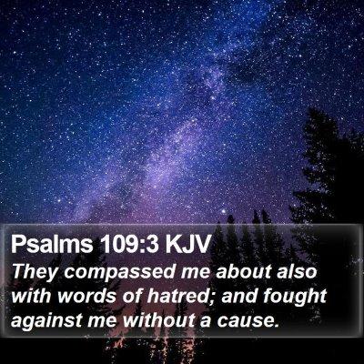 Psalms 109:3 KJV Bible Verse Image