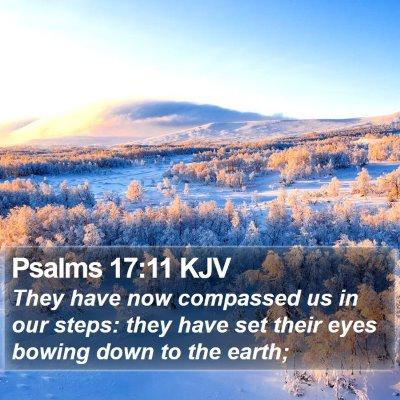 Psalms 17:11 KJV Bible Verse Image