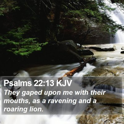 Psalms 22:13 KJV Bible Verse Image