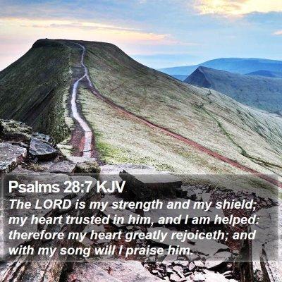 Psalms 28:7 KJV Bible Verse Image