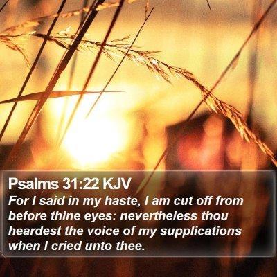 Psalms 31:22 KJV Bible Verse Image