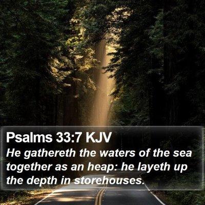 Psalms 33:7 KJV Bible Verse Image