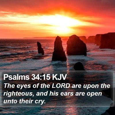 Psalms 34:15 KJV Bible Verse Image