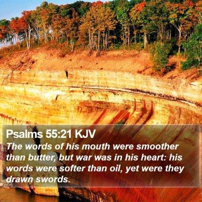 Psalms 55:21 KJV Bible Verse Image